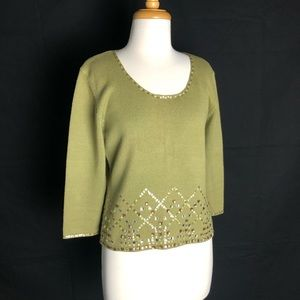 Worth Olive Cotton jeweled 3/4 length Sweater